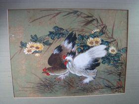 "Hui-Chi Mau Chinese Artist ""Pair Of Chickens"" Original Gouache Painting 16"" x 12"""