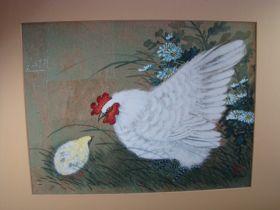 "Hui-Chi Mau Chinese Artist ""Chicken & Chick"" Original Gouache Painting 16"" x 12"""