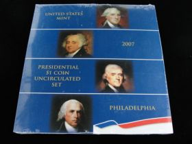 2007 United States Mint Philadelphia Presidential $1 Coin Uncirculated Set Sealed