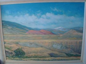 """Adolph Spohr 1959 """"View From Cody Wyoming"""" Oil On Canvas Board Original Painting"""