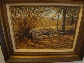 "Charles A. Morris 1975 ""Old Wagon"" Original Oil On Canvas 12"" x 16"" Framed"