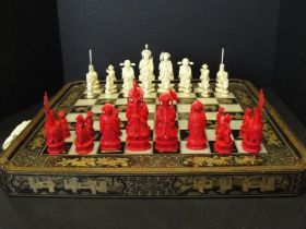 1850-1870 Chinese Export Ivory Figural Chess Set (Cantonese)