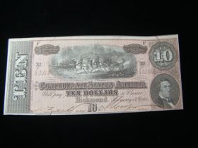 1864 Confederate States Of America $10.00 Banknote Signed Crisp Uncirculated T68