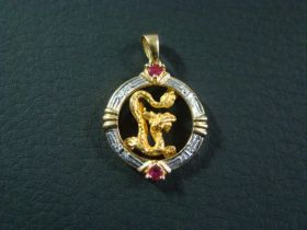 Chinese Vintage 18KT Gold And Ruby Dragon Pendant