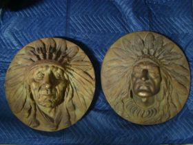 2 Late 19th Century Large Cast Iron Indian Chief Building Plaque Reliefs Rare!