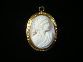 Antique 18KT Gold Finely Carved Pink Shell Cameo Brooch Pin