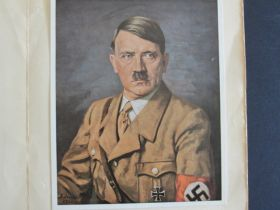 1940 Adolf Hitler Presentation Folder With Quote And Painting Copy