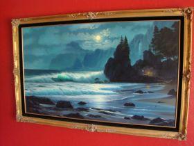 "Anthony Casay ""Oregon Coast"" Large 36X60 Original Oil On Canvas Signed & Framed"