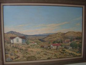 """Berenyce A. Baudoin Socorro New Mexico 24X36 Oil On Canvas """"View Of Madrid New Mexico"""" Signed And Framed"""
