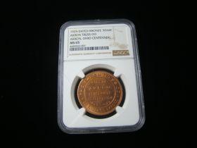 "1925 ""Akron Truss Company"" Akron Ohio Centennial Bronze Medal NGC Graded MS65"