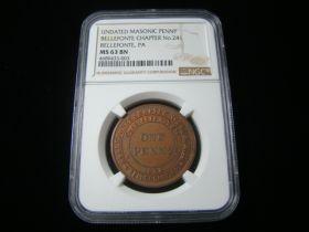 "Masonic Penny ""Bellefonte Chapter No.241"" Bellefonte PA Undated NGC Graded MS63 BN"