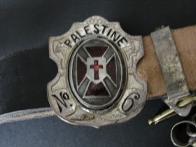 Masonic Belt With Sword Hanging Chains and Palestine No. 6 Buckle