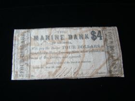 1864 The Marine Bank Of Georgia $4.00 Banknote Fine Signed