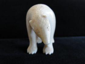Antique Native Alaskan Hand Carved Ivory Polar Bear