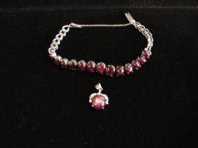 Antique Very Fine Violet Star Sapphire Pendant & Bracelet