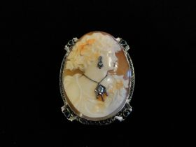 Antique 14KT White Gold Carved Coral Cameo Brooch Pin W/Diamonds & Emeralds