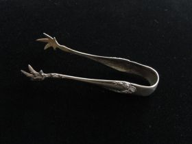Fine Antique Sterling Silver RW & S (R. Wallace & Sons) Claw Sugar Cube Tongs