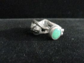 1890-1910 Art Nouveau Hand Crafted Sterling Silver & Turquoise Ring