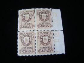 San Marino Scott #78a Type I Block Of 4 Mint Never Hinged