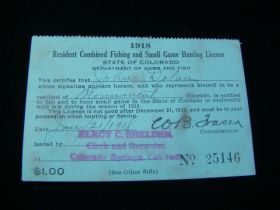 Colorado 1918 Resident Combined Fishing And Small Game Hunting License