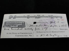 1911 St. Francois County Railroad Co. Missouri Check With Rail Car Vignette