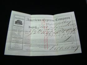 1867 American Express Company Transfer Receipt Signed At Buffalo NY Office