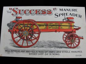"1880's ""Success"" Manure Spreader Kemp & Burpee Mfg. Co. Lithograph Trade Card"