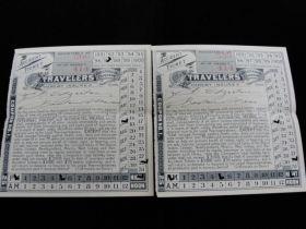 """1897 Maine Central Railroad Pair Of """"Travelers Insurance Co."""" Accident Tickets"""
