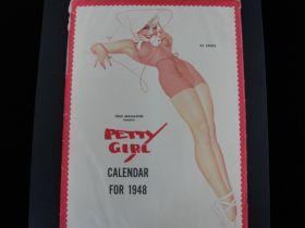 """1948 """"Petty"""" Pin Up Girl Calendar By Fawcett Publications"""