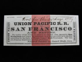 1870's Union Pacific R.R. To San Francisco And Return Ticket