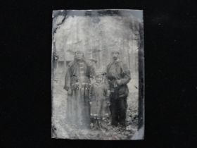 19th Century United States Settler With Native American Woman & Child Tintype
