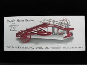 1920's Duplex Manufacturing Co. Omaha Nebraska Motor Grader Advertising Blotter