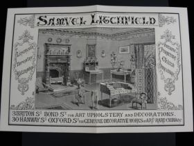 1884 Samuel Litchfield London Antique Dealer Lithograph Advertising Print