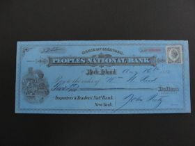 1882 Peoples National Bank Rock Island Check With Train & Station Vignette
