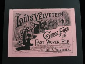 "1881 ""The Louis Velveteen Genoa Face And Fast Woven Pile"" Black On Pink Print"