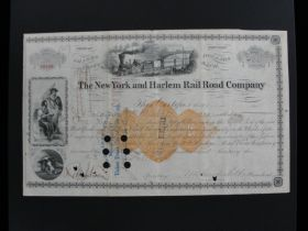1873 The New York & Harlem Railroad Company Signed By William H. Vanderbilt