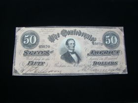 1864 Confederate States Of America $50.00 Banknote Signed Crisp Uncirculated T66
