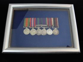 Six United Kingdom Military Medals Framed in Display Case