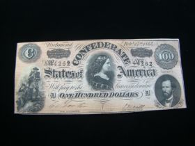 1864 Confederate States Of America $100.00 Banknote Signed Crisp Uncirculated T65