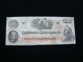 1862 Confederate States Of America $100.00 Banknote Signed Choice Crisp Uncirculated T41