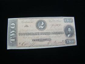 1864 Confederate States Of America $2.00 Banknote Signed Gem Crisp Uncirculated T70