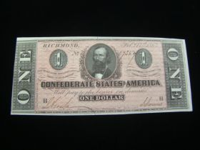 1864 Confederate States Of America $1.00 Banknote Signed Choice Crisp Uncirculated T71