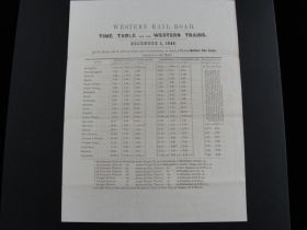 1845 Western Rail Road Of MA Extremely Rare Time Table For The Western Trains