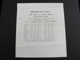 1845 Western Rail Road Of MA Extremely Rare Time Table For The Eastern Trains