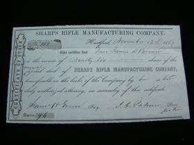 1869 Sharps Rifle Manufacturing Company Rare Stock Certificate Signed By J.C. Palmer