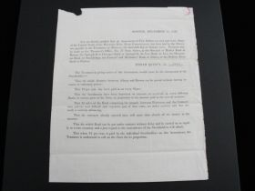 1836 Western Rail Road Corporation Of MA Notice Of Assessment Printed Document