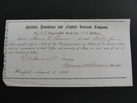 1851 Hartford, Providence, And Fishkill R.R. Co. Convertible Scrip For Stock Doc
