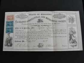 "1869 LaGrange Agricultural And Mechanical Society Stock Certificate ""Missouri"""