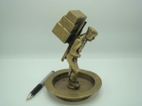 U.S. Forces In Korea Brass Trench Art, Soldier Packing The Pyramid Weight