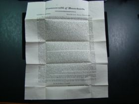 1820 Massachusetts Militia General Orders Broadside To Brigadier General William Crawford Of Oakham MA